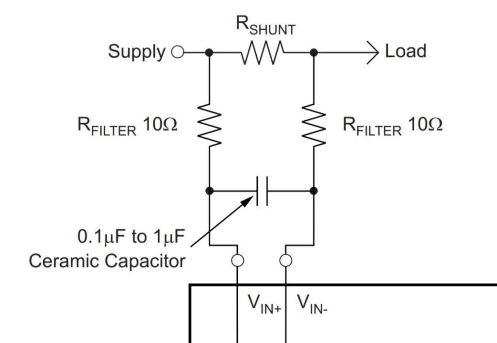 INA219 current sense input filtering schematics diagram.