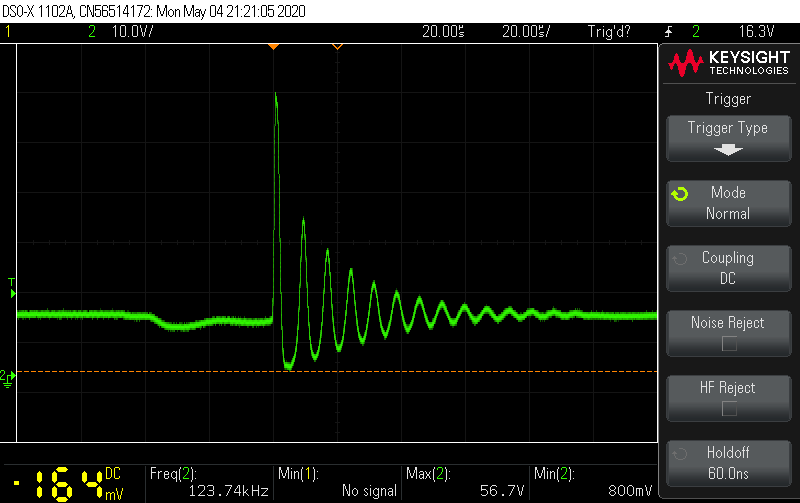 Keysight DSOX1102A oscilloscope screenshot. Measuring voltage transients on DFRobot Gravity Wattmer.