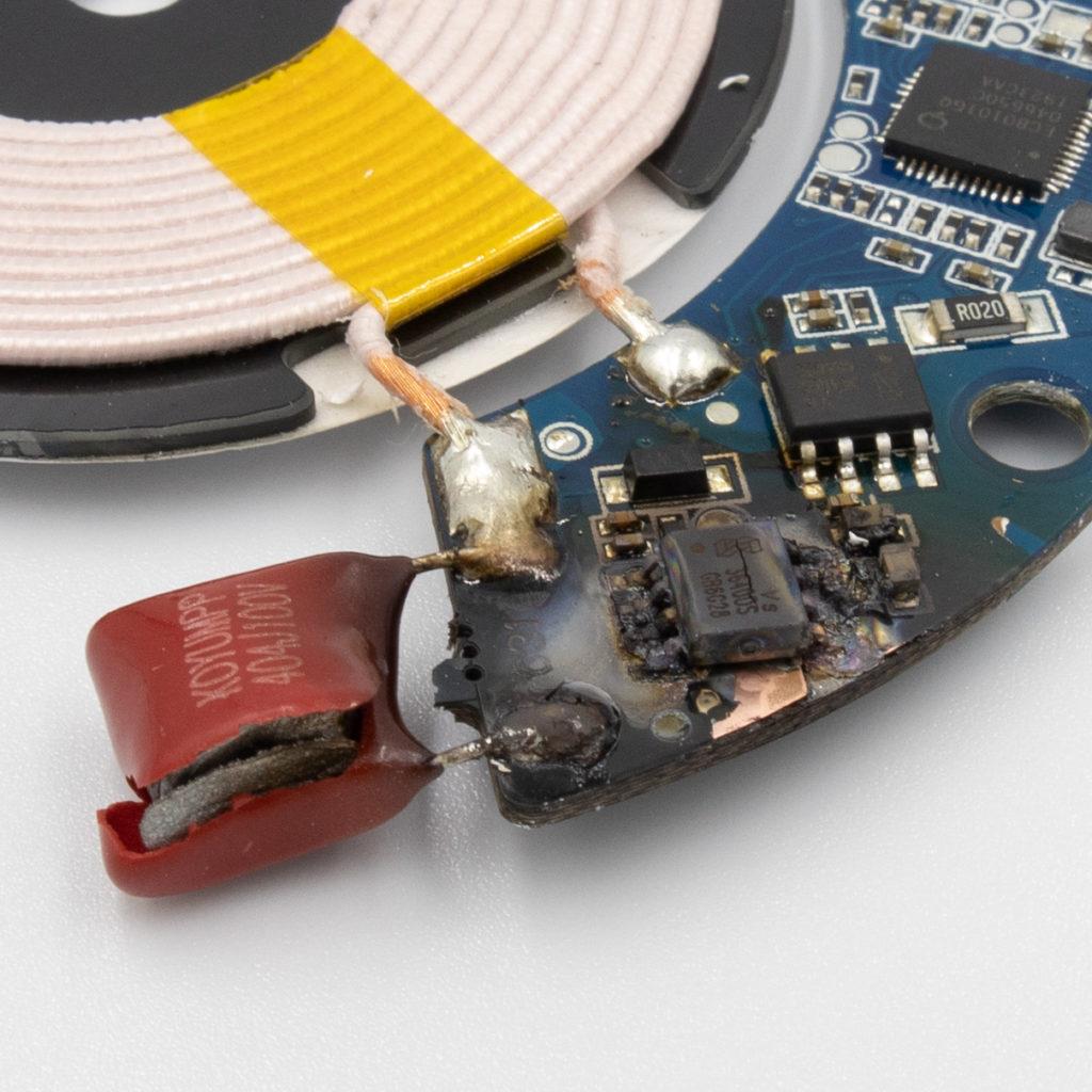 IKEA LIVBOJ Qi Wireless charger burned PCB closeup