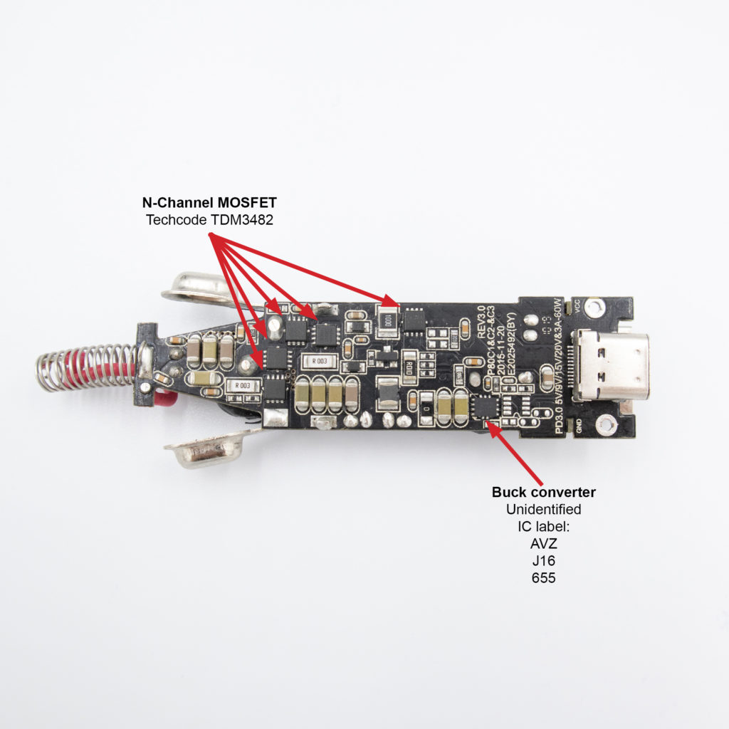 Satechi 72W TYPE-C-PD car charger adapter teardown. The key components on bottom of the PCB: N-Channel MOSFET TDM3482, buck converter AVZ J16 655.