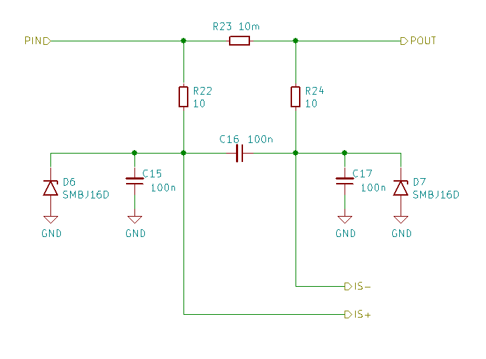 Schematics for the current sense resistor with RC and TVS diodes filtering.