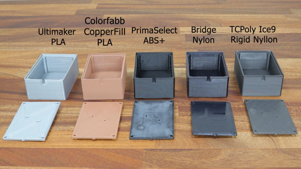 Boxes 3D printed in Ultimaker PLA, Colorfabb CopperFill PLA, PrimaSelect ABS+, Bridge Nylon, TcPoly Ice9 Rigid Nylon filaments.