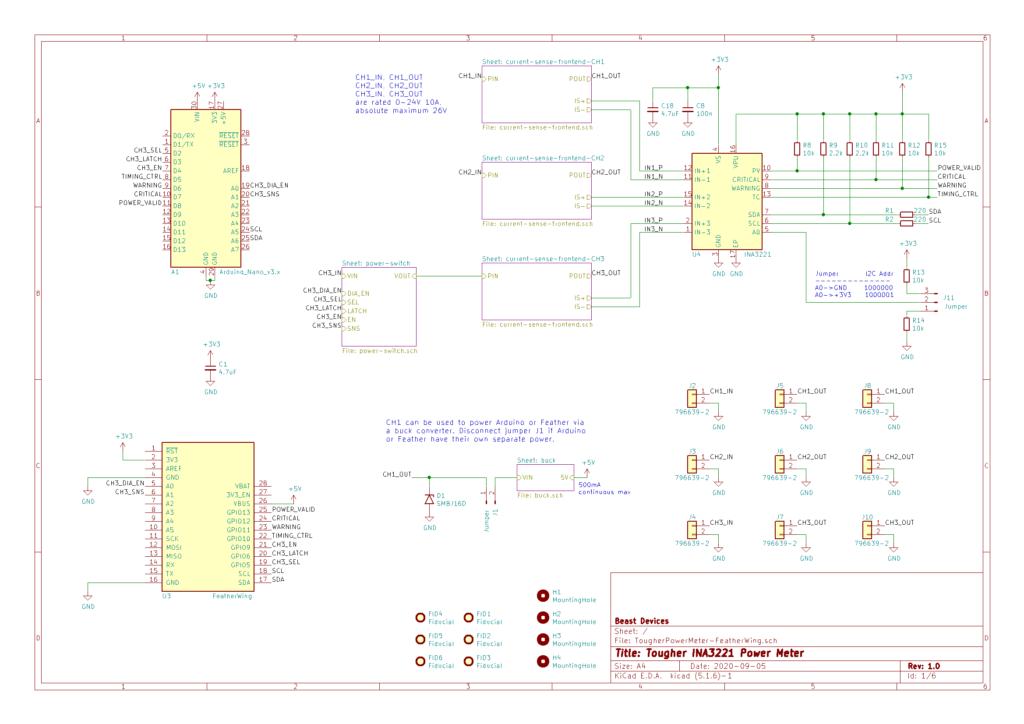 Tougher INA3221 Power Meter Schematics